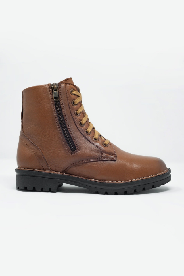 Leren laarzen met dikke zool in bruin