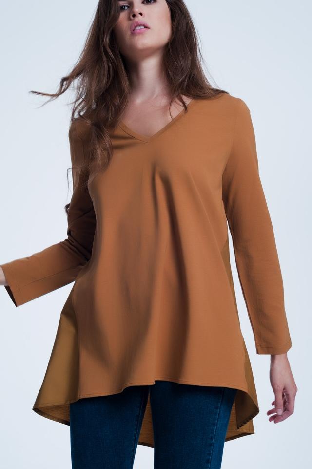 Lang bruin t-shirt met lange mouwen