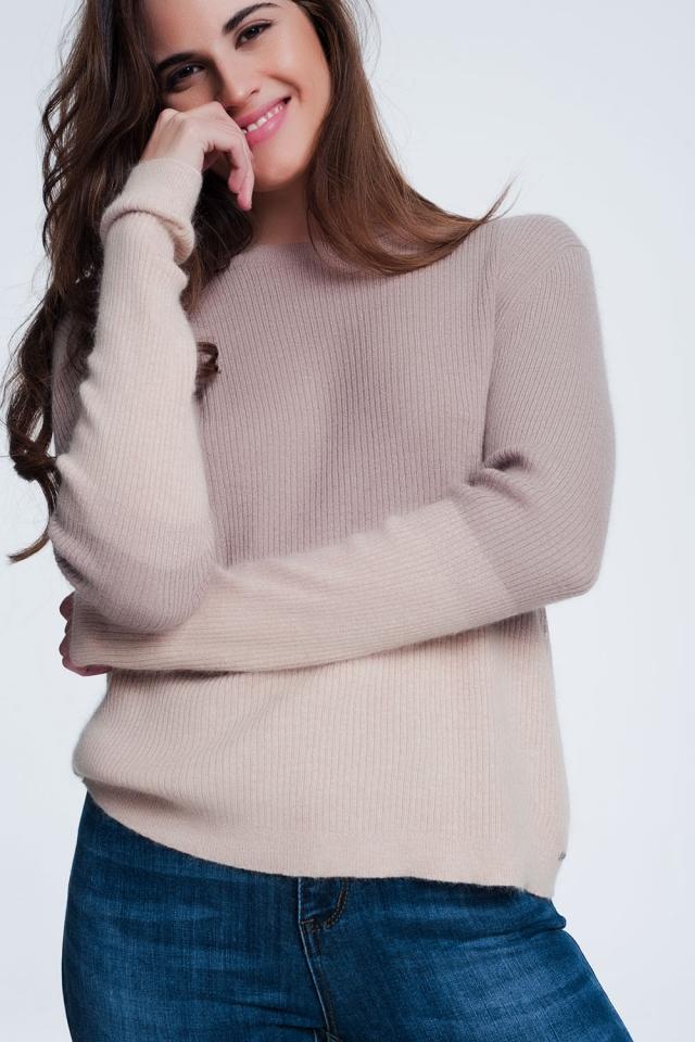 Beige sweatshirt met ronde hals