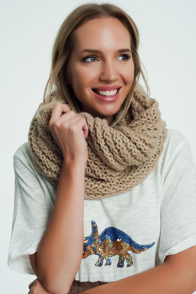 Dikke geweven sjaal in beige