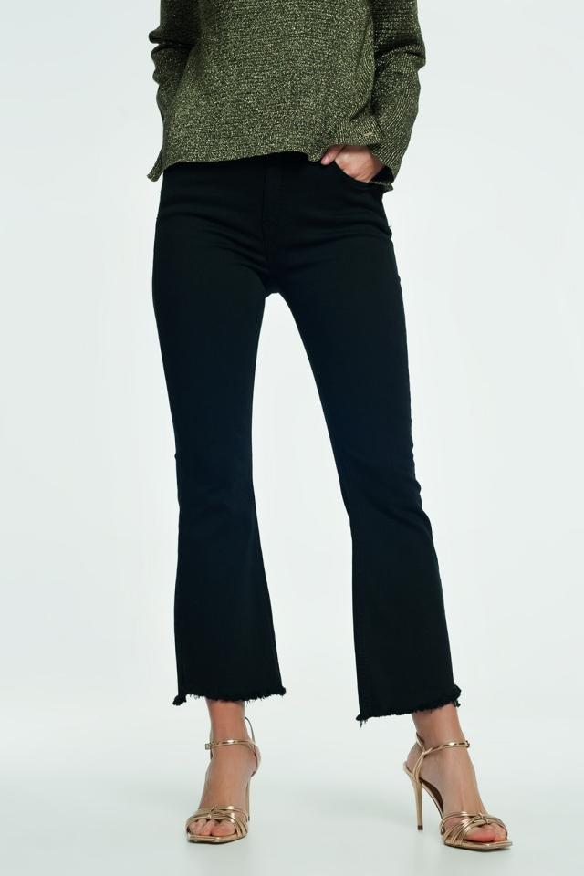 Flared jeans met hoge taille en onafgewerkte zoom in black