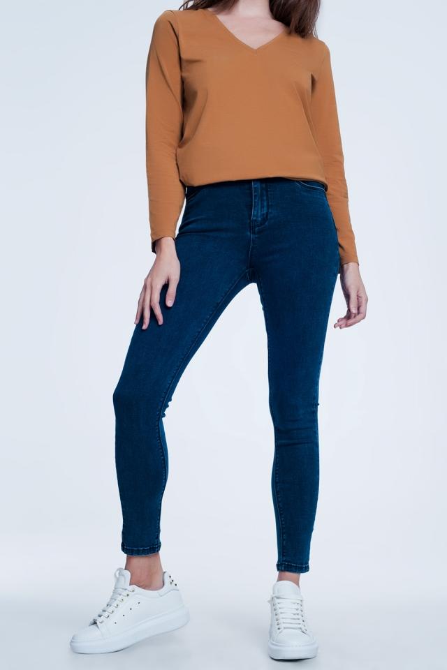 Marineblauwe skinny jeans met hoge taille