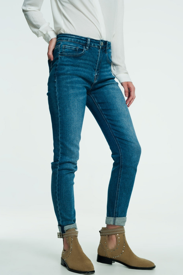 Jeans met hoge taille in medium wassing