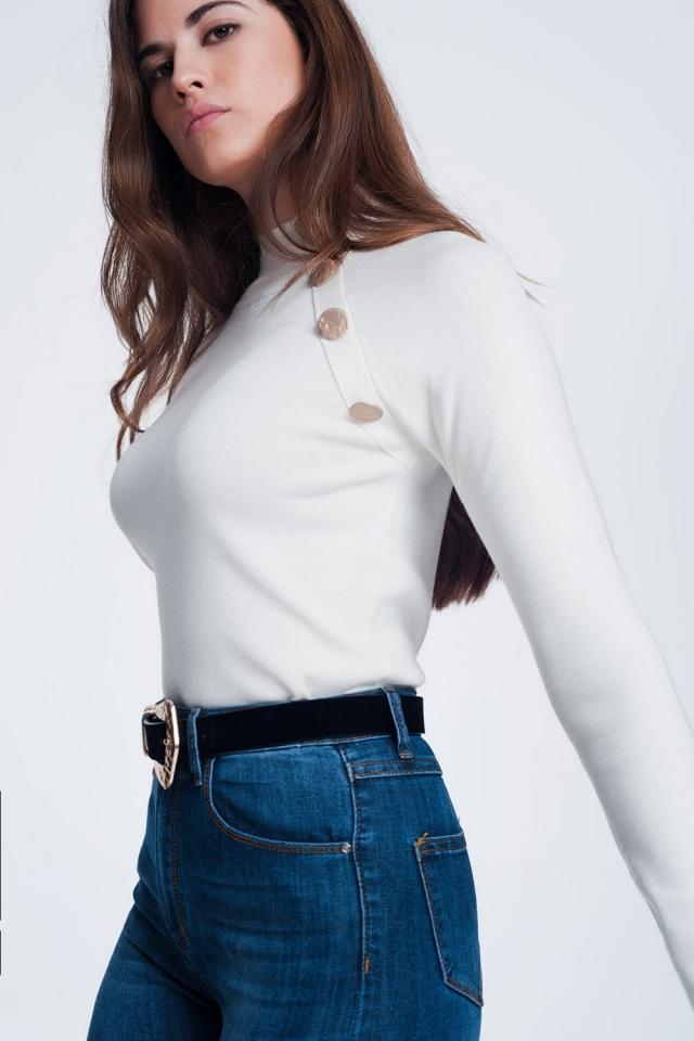 Sweatshirt met knoopdetail in crème