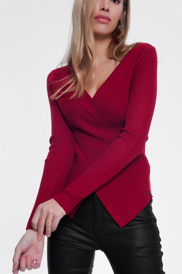 rode trui met diepe v-hals