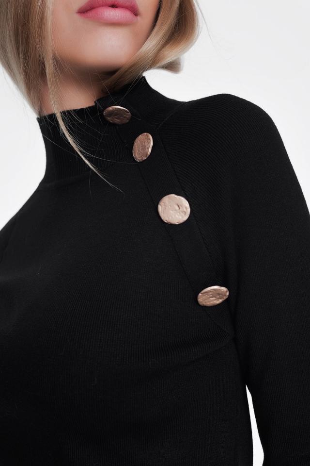 Sweatshirt met knoopdetail in black