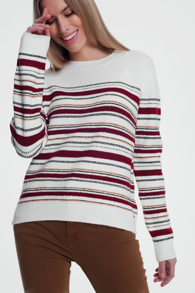 Kastanjebruine gebreide sweater met strepen