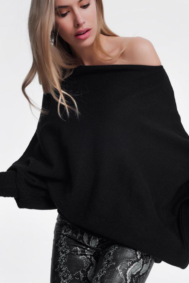 Zwarte trui met lange mouwen
