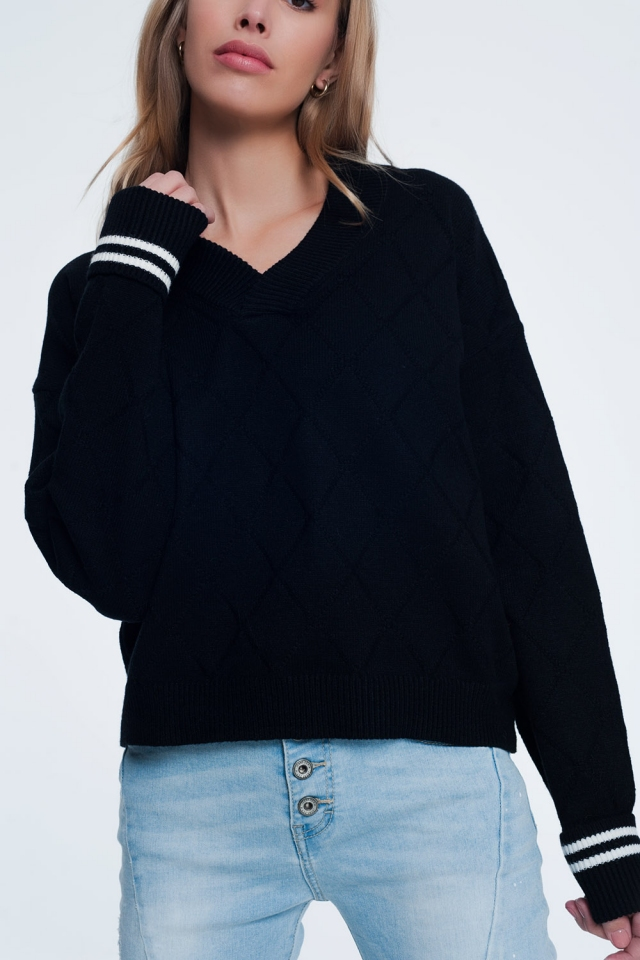 Zwarte trui met ruitenpatroon