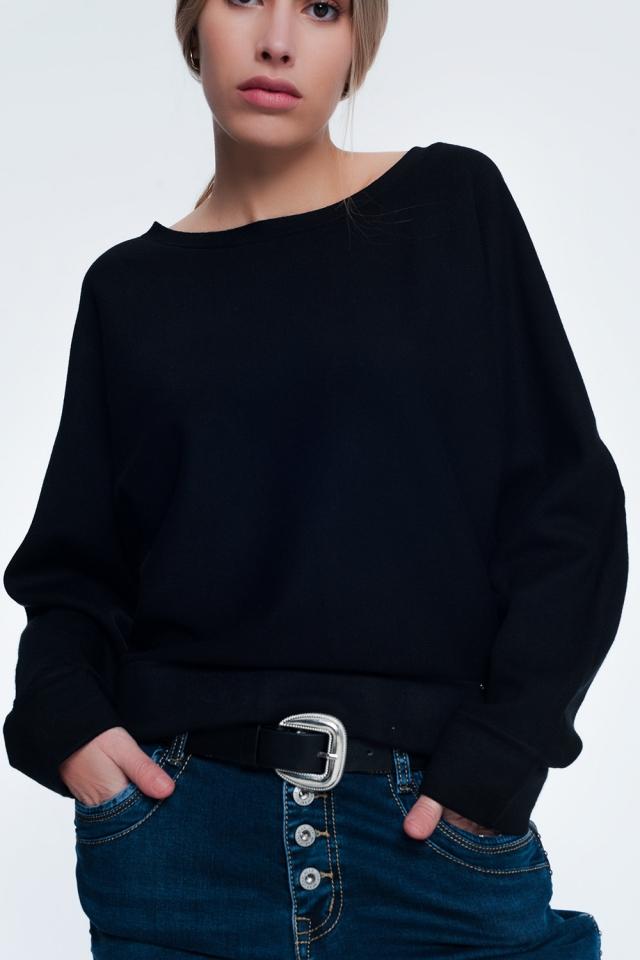 Zwarte trui met boothals