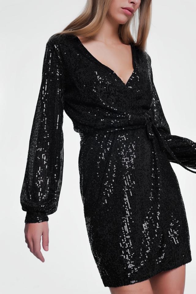 Zwarte avond jurk met lange mouwen