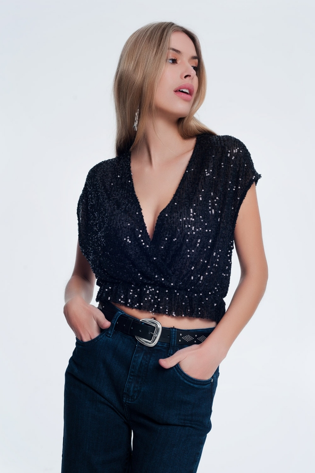 Zwarte glanzende crop top