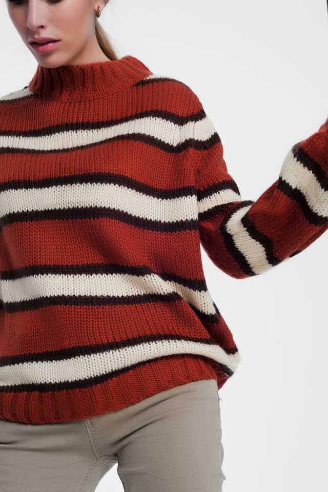Dik gebreide caldera gekleurde trui