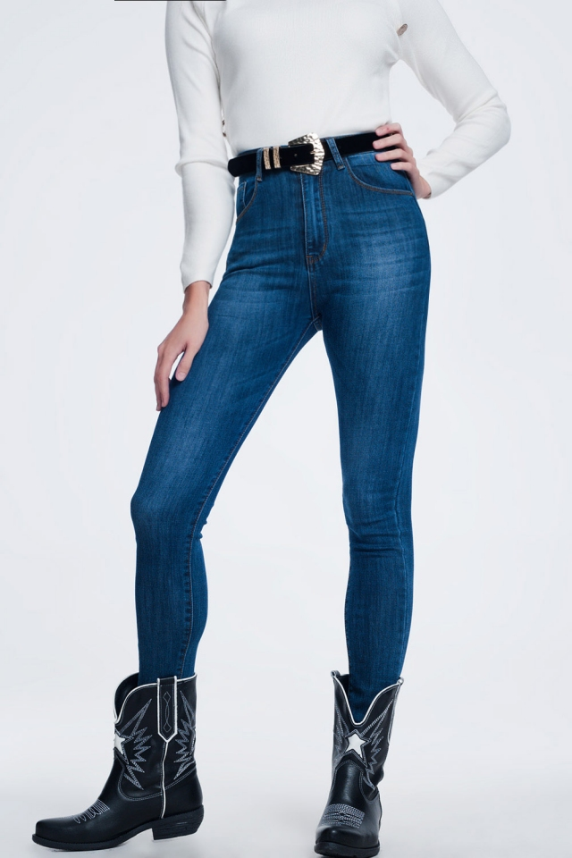 Blauwe skinny jeans met hoge taille