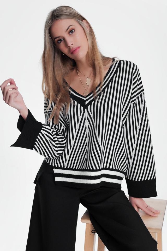 Zwarte oversized trui met strepen