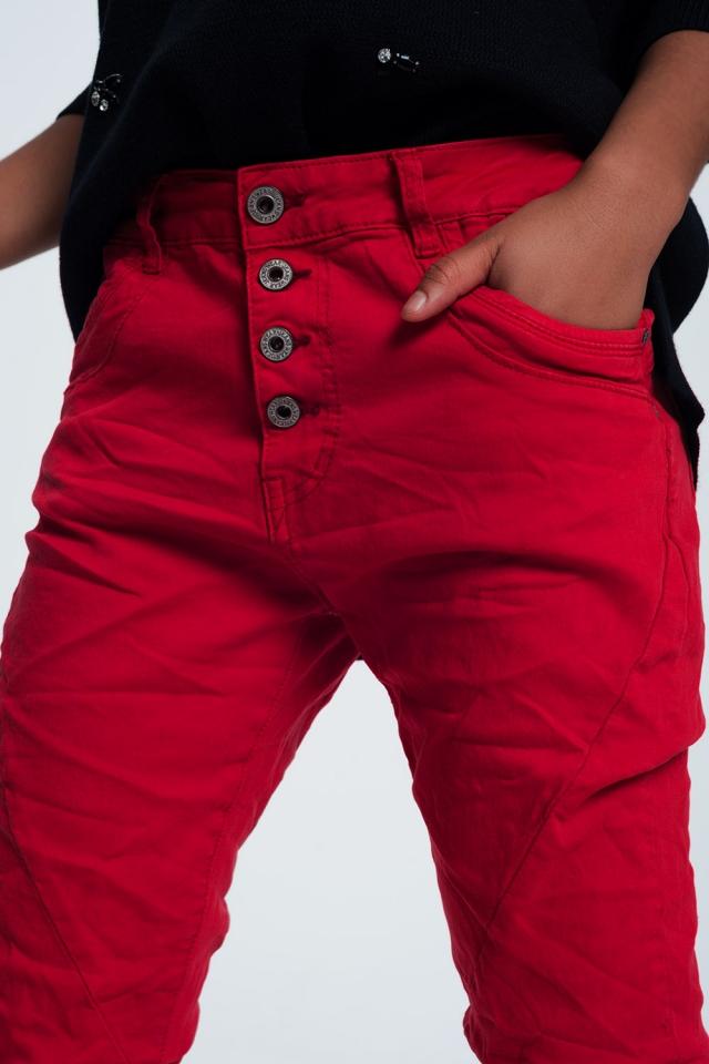 Originele boyfriend jeans in rood