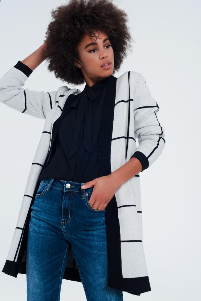 wit gestreept vest met zwarte details