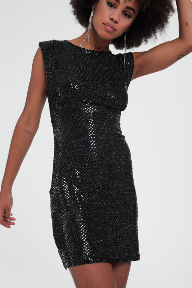Glimmende jurk zonder mouwen