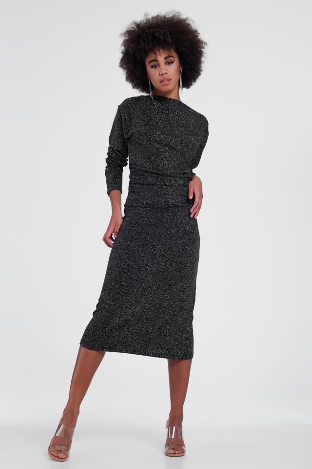 Zwarte glimmende stretchy jurk met ronde hals