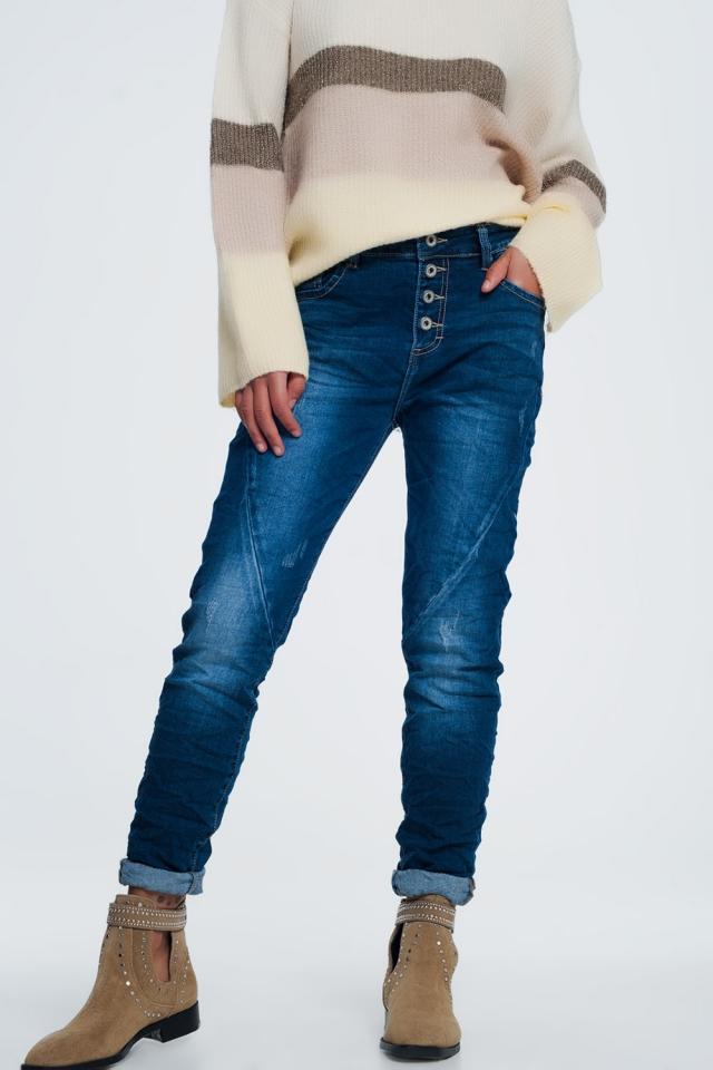 Denim gekleurde jeans met lage taille