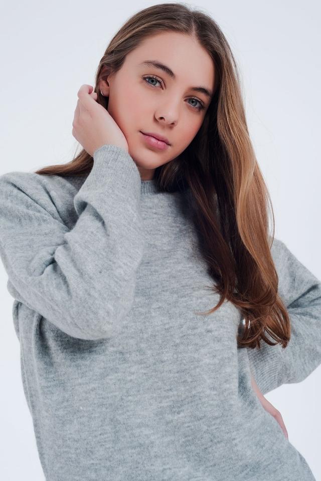 Grijs gebreide trui met lange mouwen