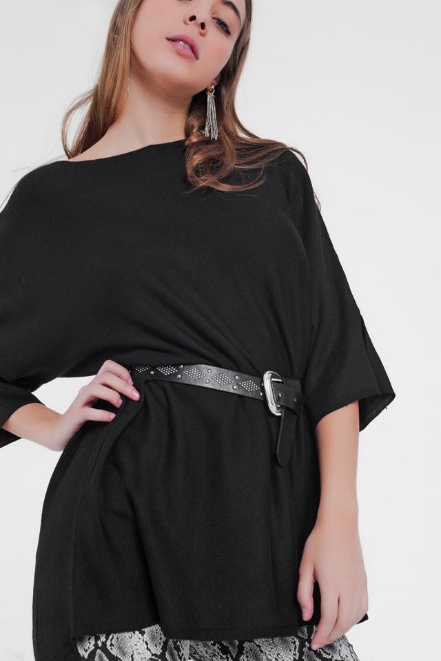 Oversized zwarte trui met korte mouwen