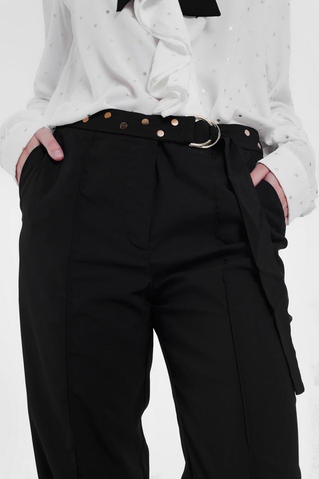 Zwarte broek met wijde pijpen en lage zoom