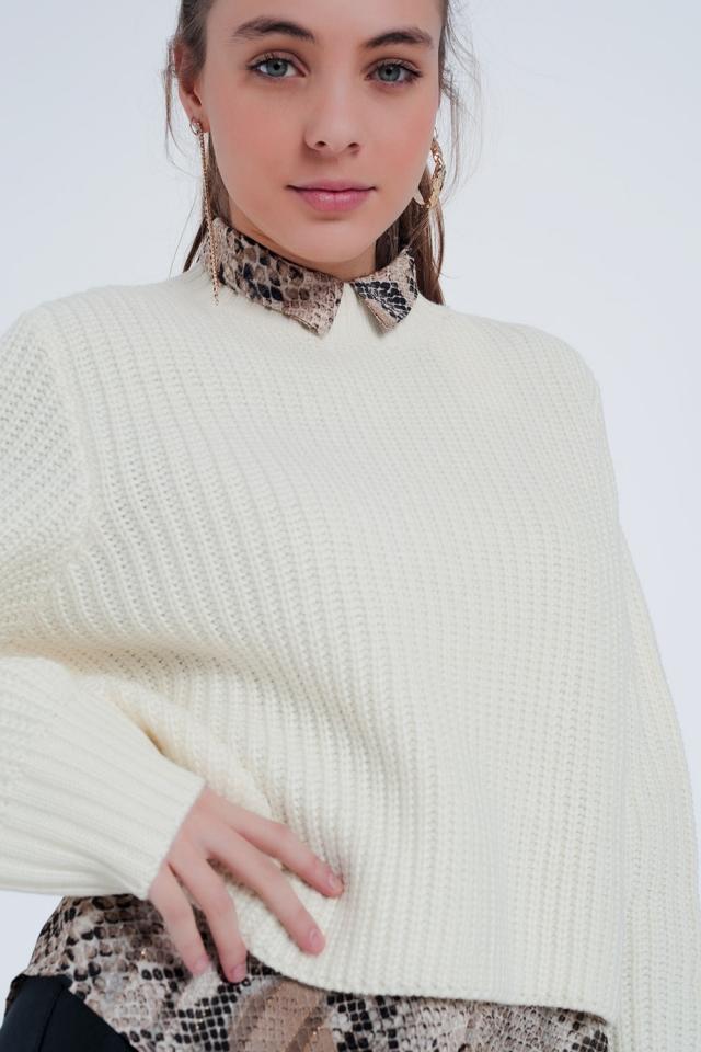 Créme Kleurige trui met ronde hals
