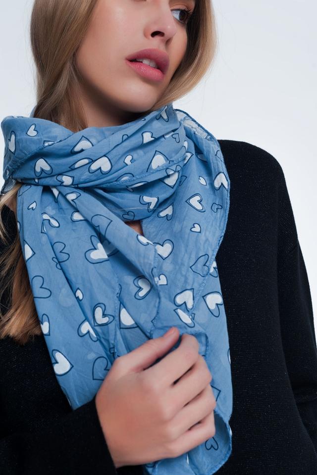 Blauw sjaal met hartjesprint