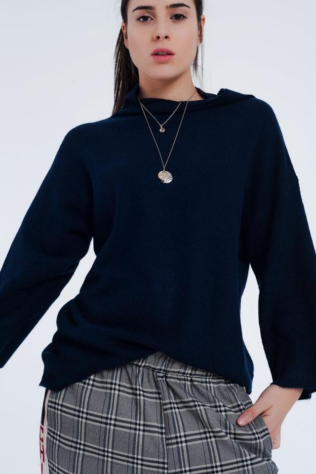Navy blauwe trui met wijde mouwen