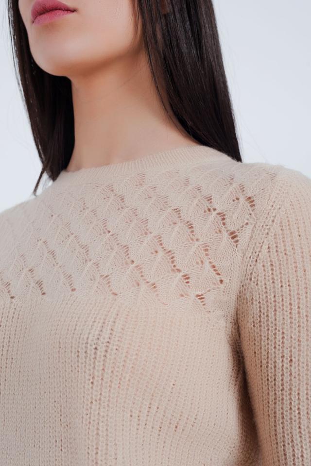 Getextureerde trui in het beige