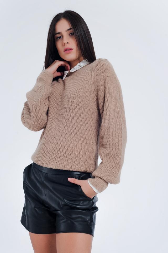 Fijn geribbeld gebreide trui in beige