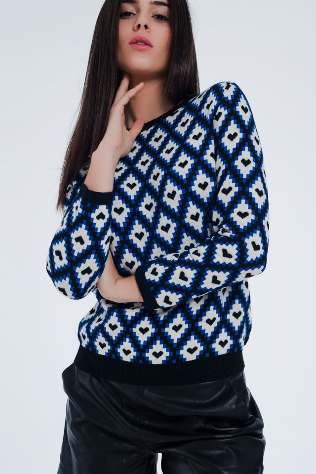 Blauwe trui met ruiten patroon met hartjes erin