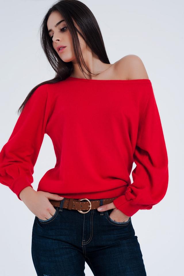 Rode trui fijn gebreid met lange mouwen
