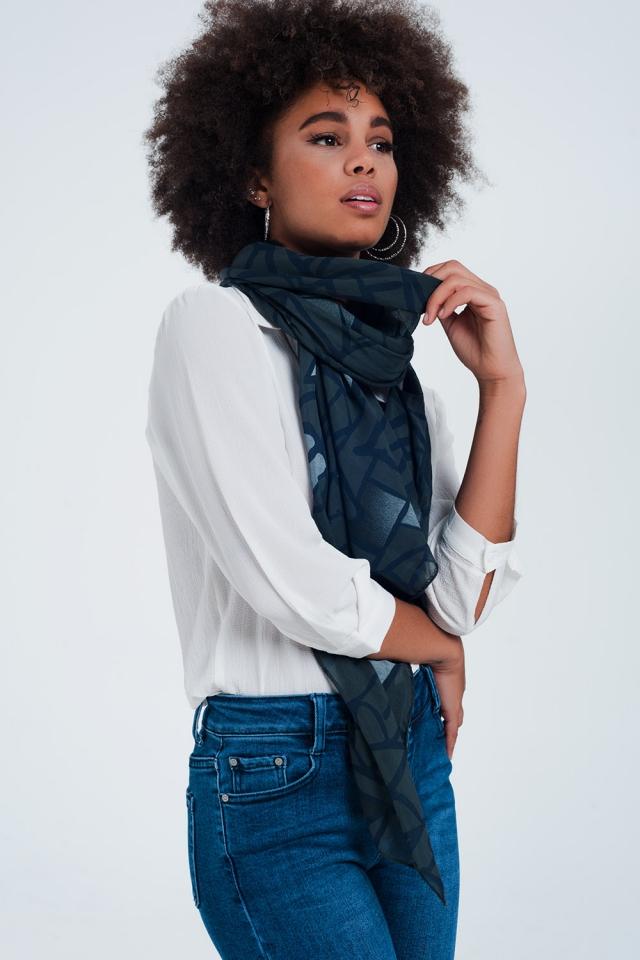 Zwarte  sjaal met patronen