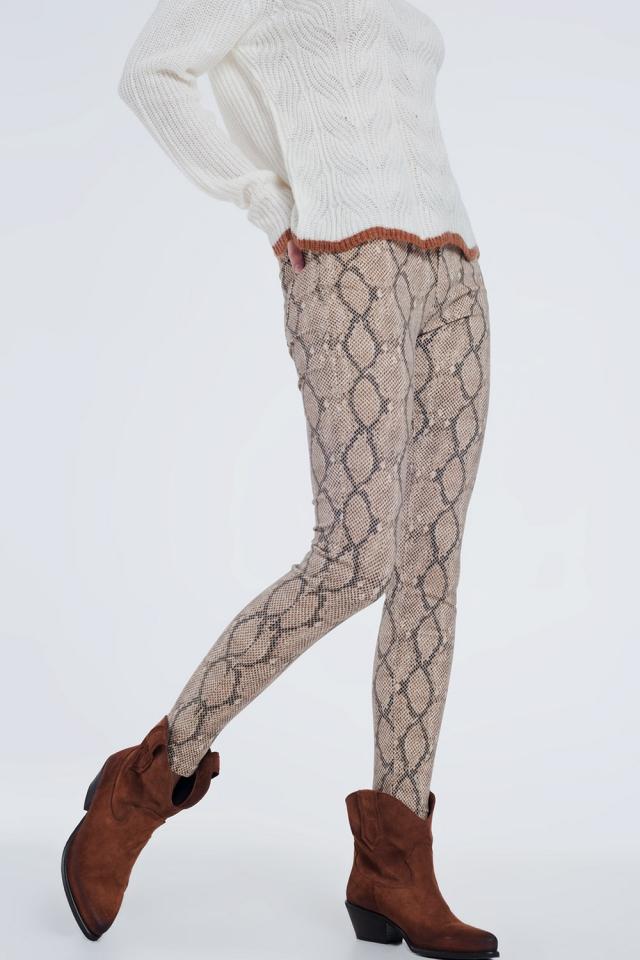 Camelkleurige broek met patroon