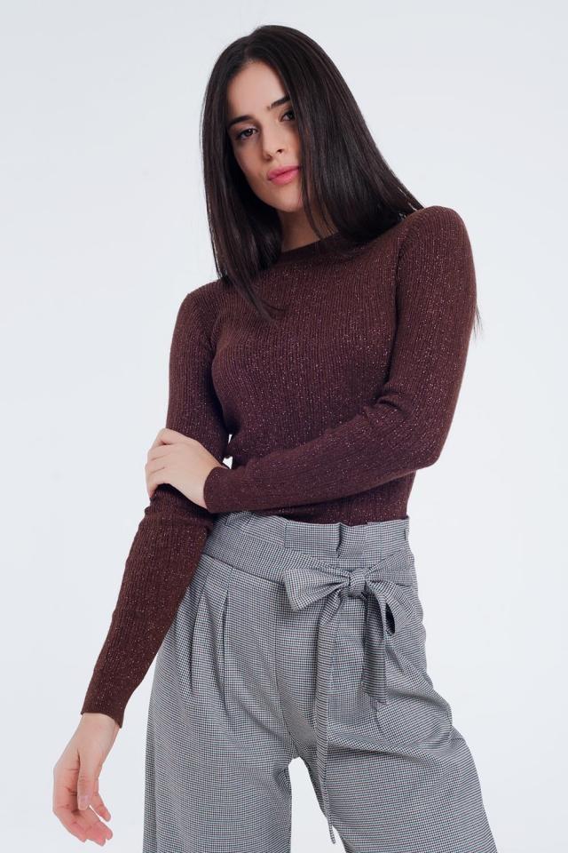 Strakke trui met lange mouwen in bruin