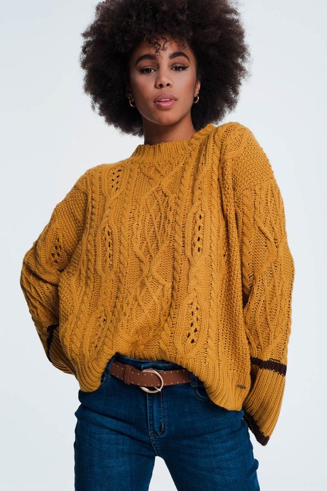 Dik gebreide mosterd gekleurde trui