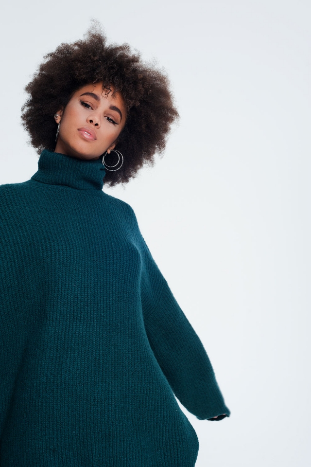 Oversized trui met opstaande boord in groen