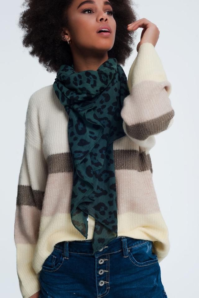 Groene sjaal met panter print