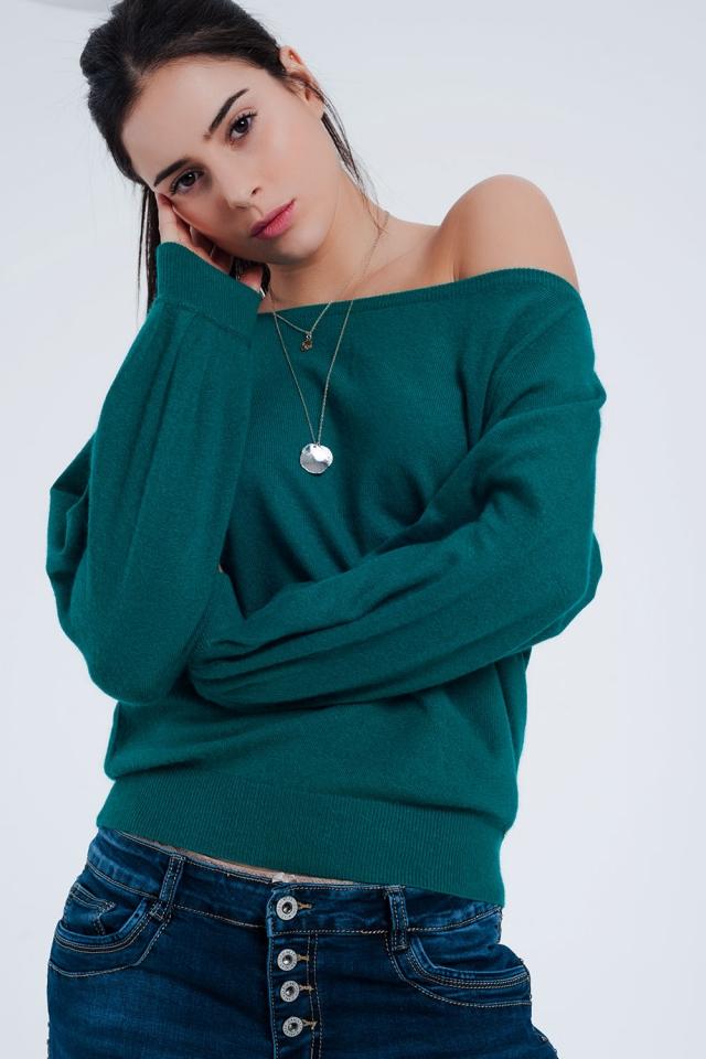 Groene trui fijn gebreid met lange mouwen