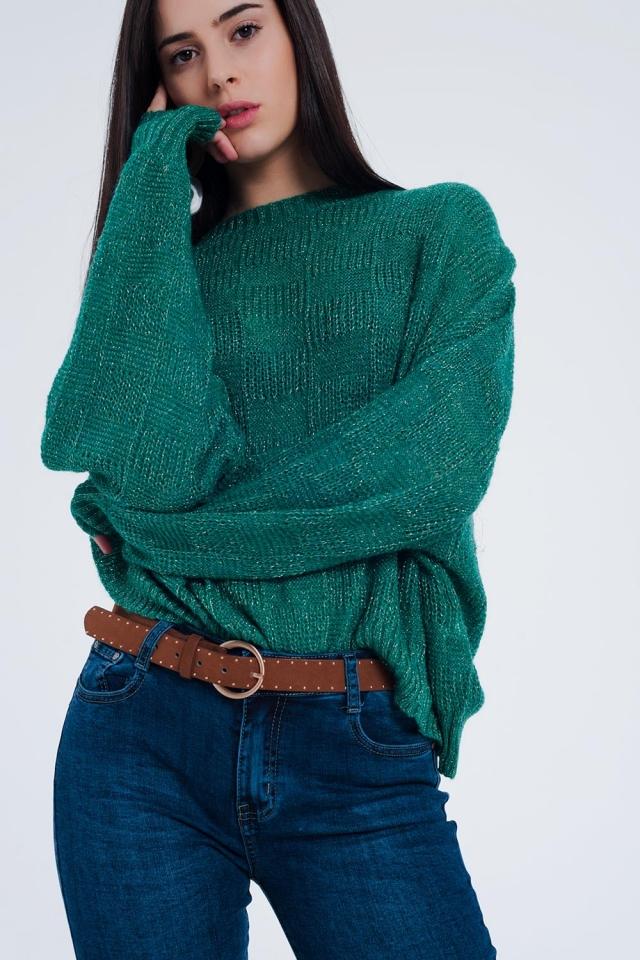 Oversized groen gebreide trui