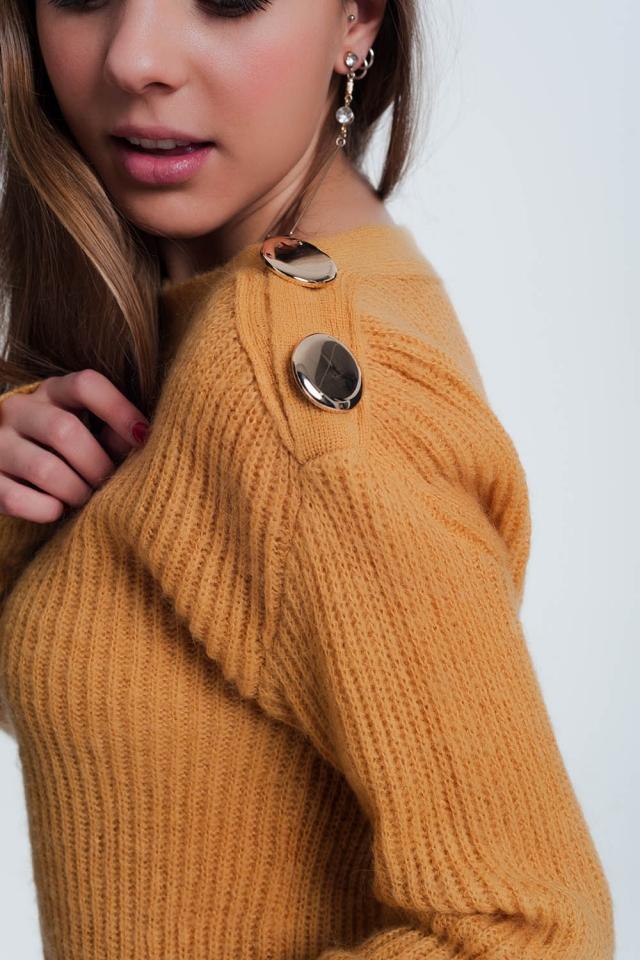 mosterd gekleurde trui met knoop detail