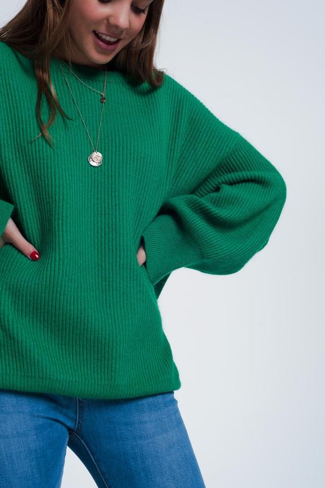 Groene trui met boothals