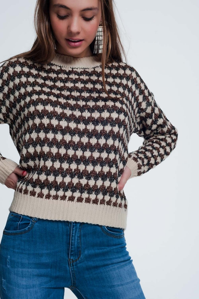 Cropped trui met glimmende gebreide strepen