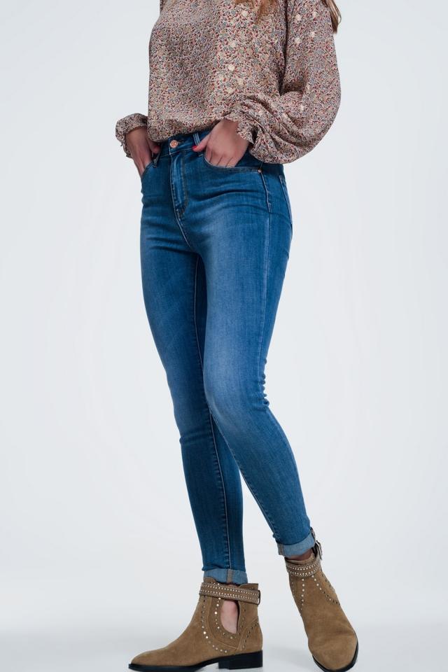 skinny jeans in light denim met lichte wassing