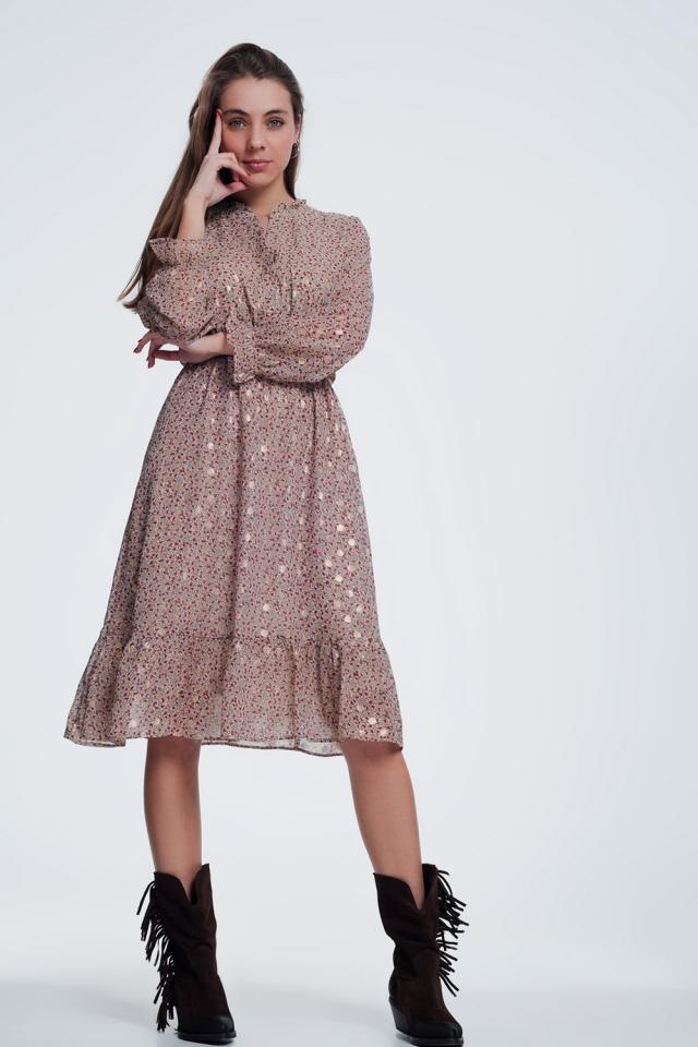 Beige jurk in bloemenprint met lange mouwen