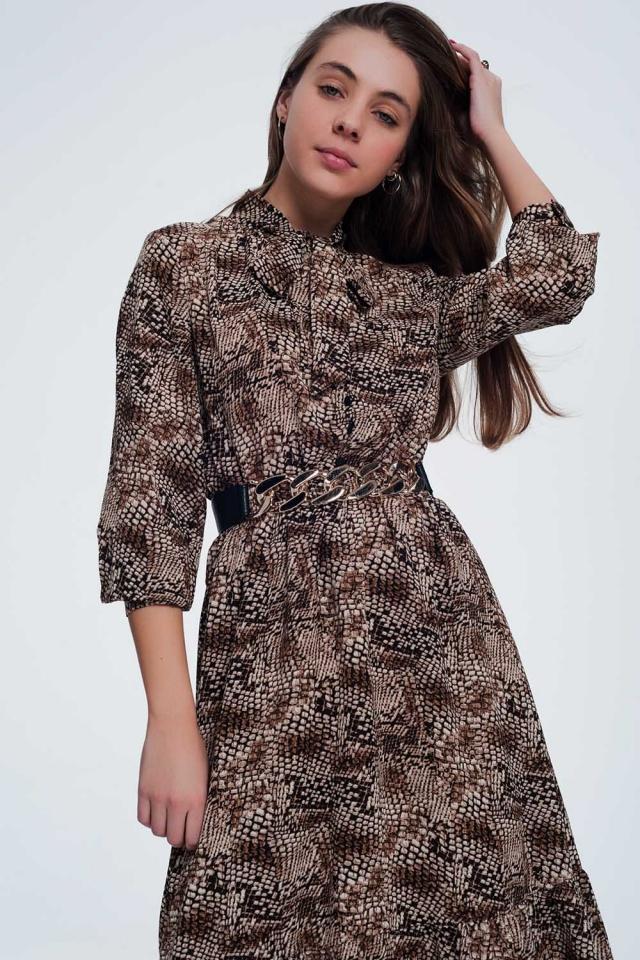Midi bruine jurk met slangen print