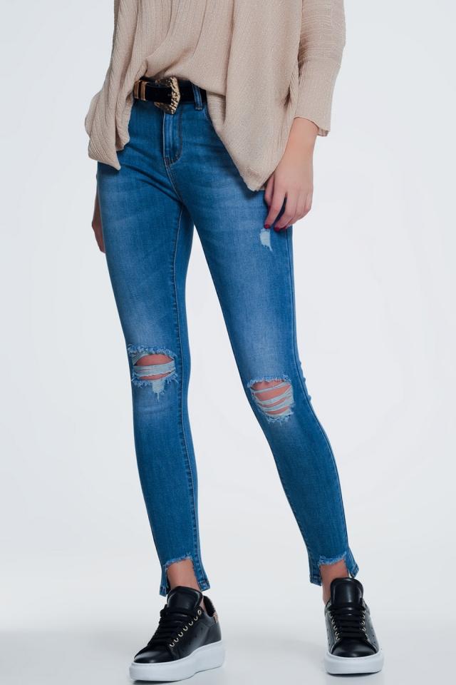 Hoge taille super skinny jeans met gescheurde knieën