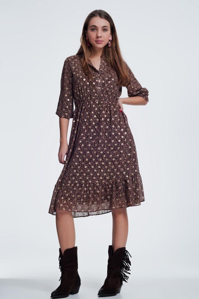 Bruine jurk in bloemenprint met lange mouwen